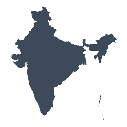 A graphic illustrated vector image showing the outline of the country India. The outline of the country is filled with a dark navy blue colour and is on a plain white background. The border of the country is a detailed path.