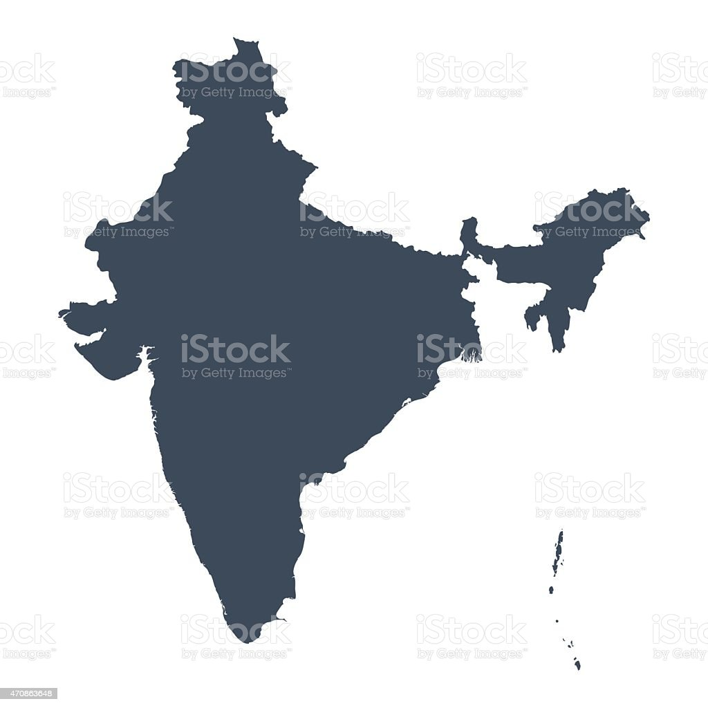 India country map vector art illustration