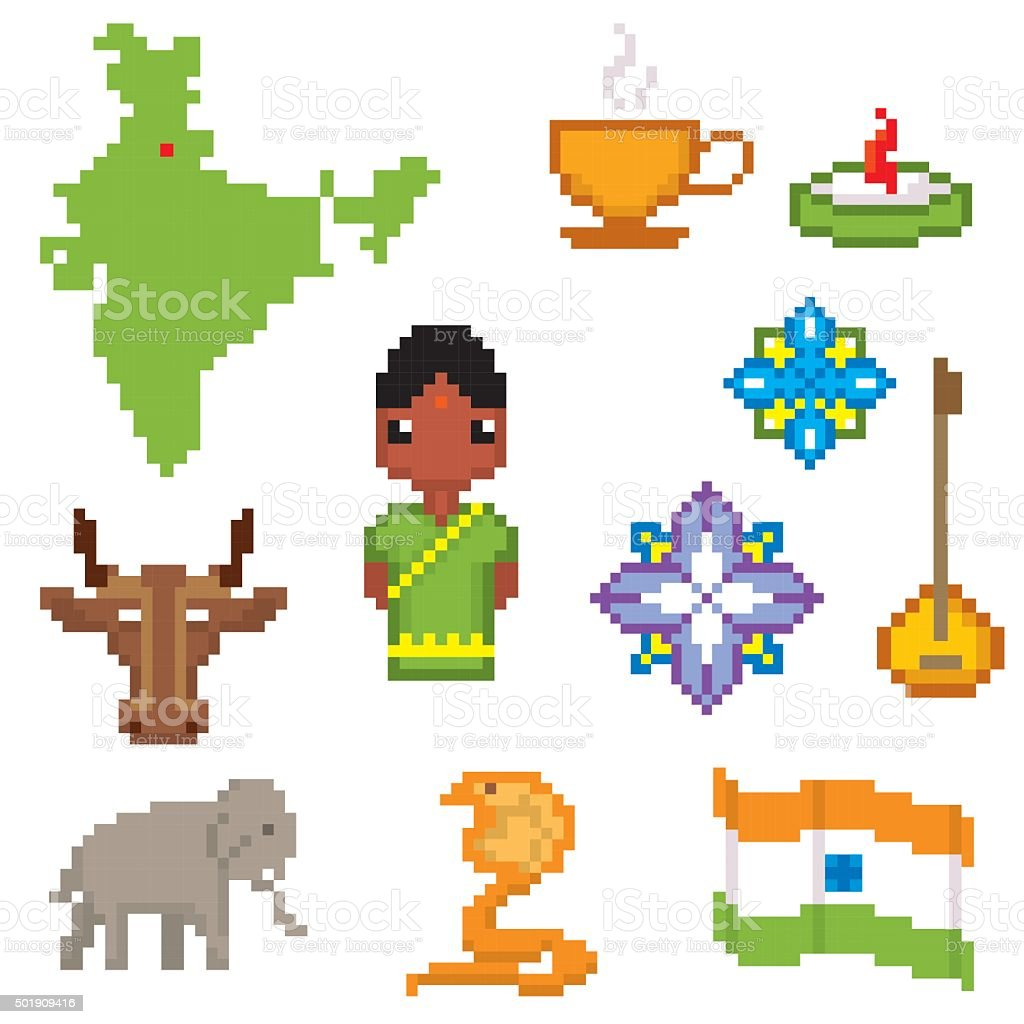 India culture symbols icons set pixel art old school computer india culture symbols icons set pixel art old school computer royalty free india buycottarizona Image collections