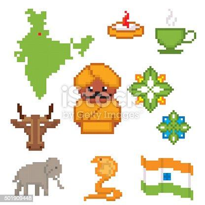 India Culture Symbols Icons Set Pixel Art Old School Computer Stock