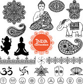Hand drawn india design elements set  with woman in lotus position elephant  tracery pattern and ornament  vector illustration
