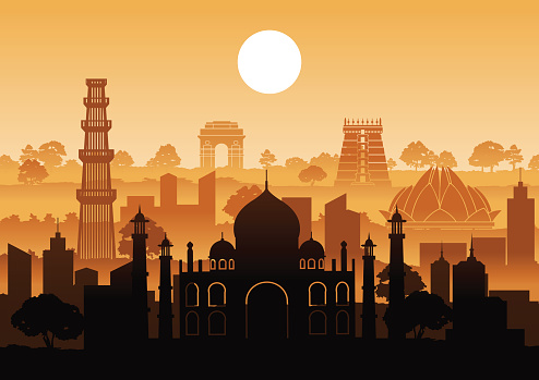 India famous landmark silhouette style with row design on sunset time