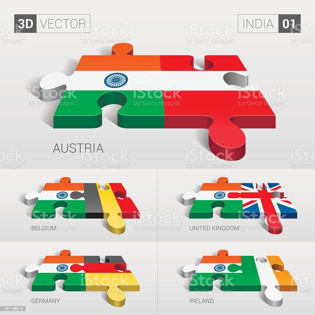India Flag. 3d vector puzzle. Set 01. vector art illustration