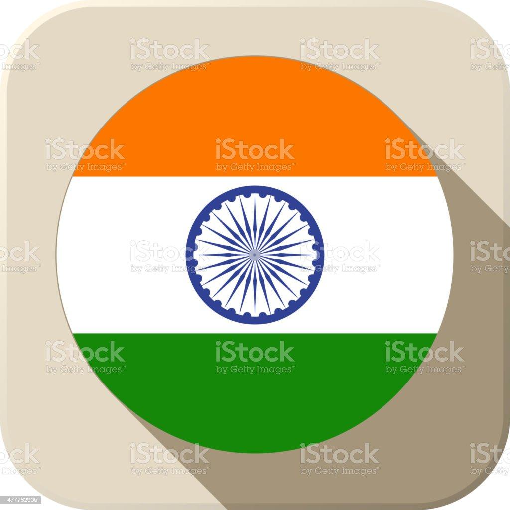 India Flag Button Icon Modern vector art illustration
