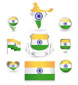 India Flag Collection. Vector icon set.