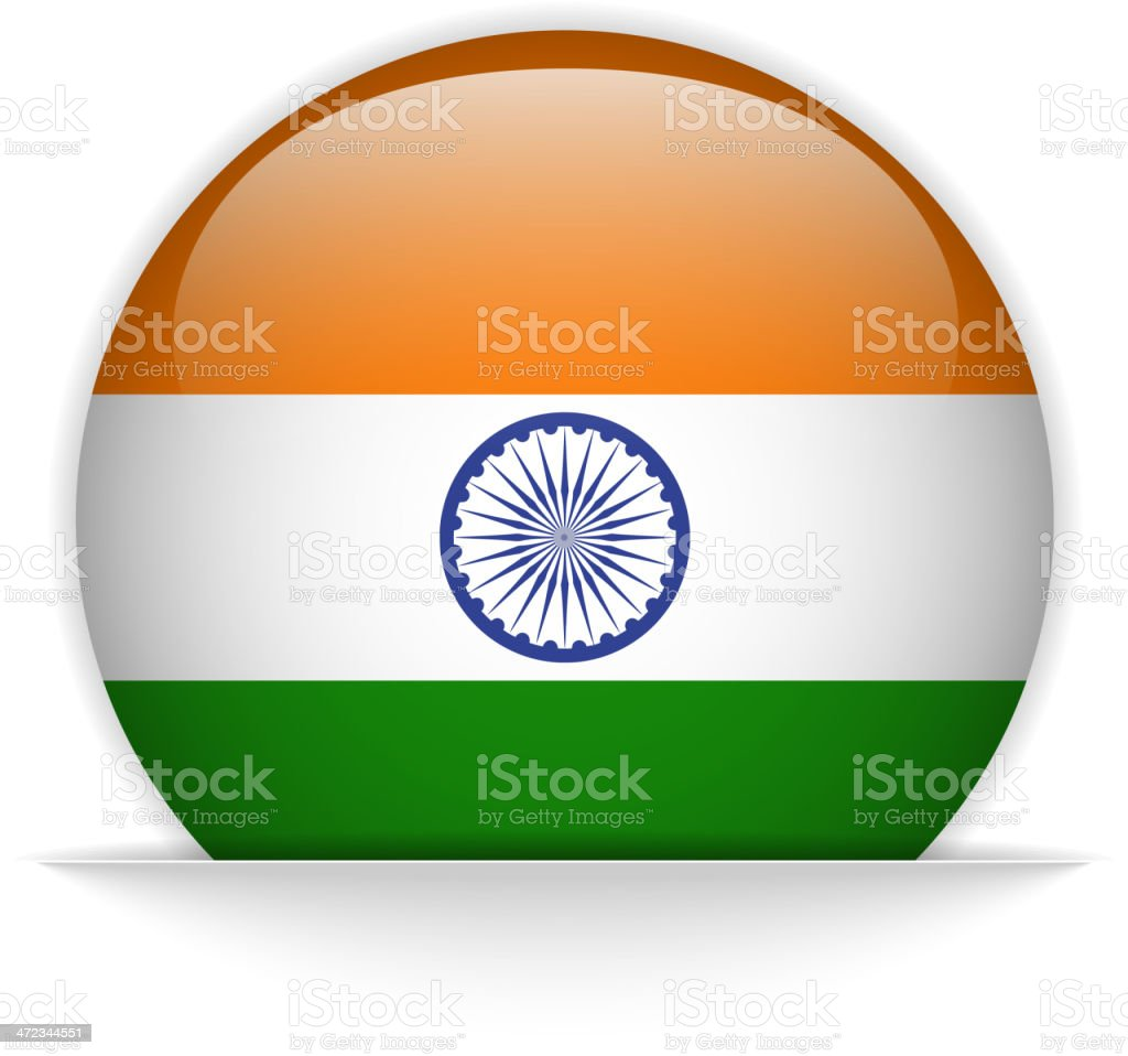 India Flag Glossy Button Hidden royalty-free stock vector art