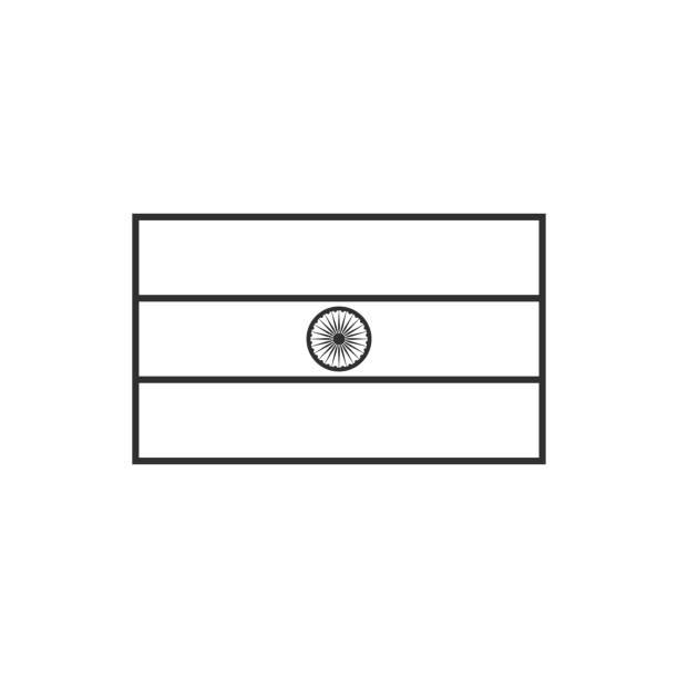 India flag icon in black outline flat design vector art illustration
