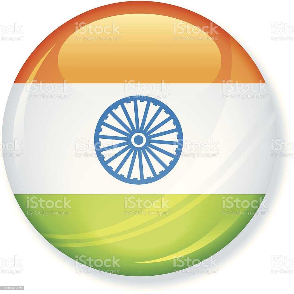 India Flag Super Glossy Button royalty-free india flag super glossy button stock vector art & more images of color image