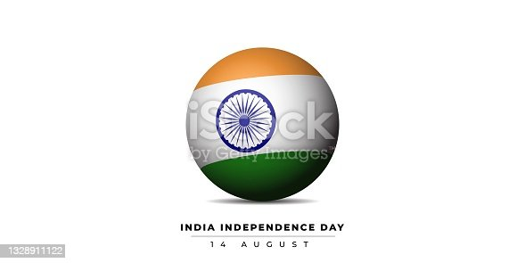 India flag with sphere design for India Independence Day