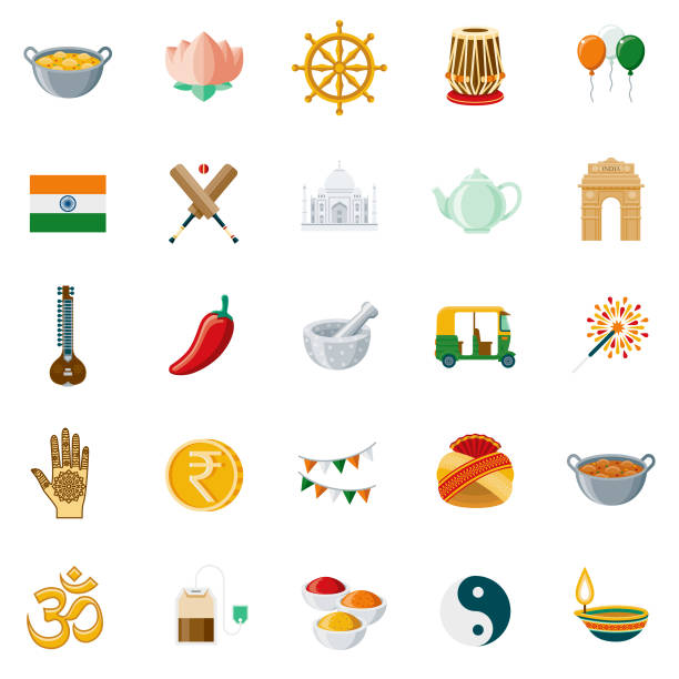 India Flat Design Icon Set A set of 25 India flat design icons on a transparent background. File is built in the CMYK color space for optimal printing. Color swatches are Global for quick and easy color changes. tavla stock illustrations