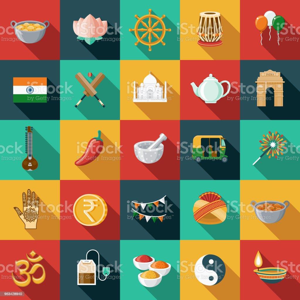 L'Inde Design plat Icon Set avec côté ombre - Illustration vectorielle