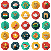 A set of flat design styled India icons with a long side shadow. Color swatches are global so it's easy to edit and change the colors.