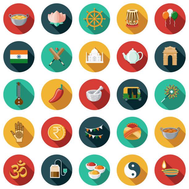 ilustraciones, imágenes clip art, dibujos animados e iconos de stock de conjunto de iconos de diseño plano de india con sombra lateral - comida india
