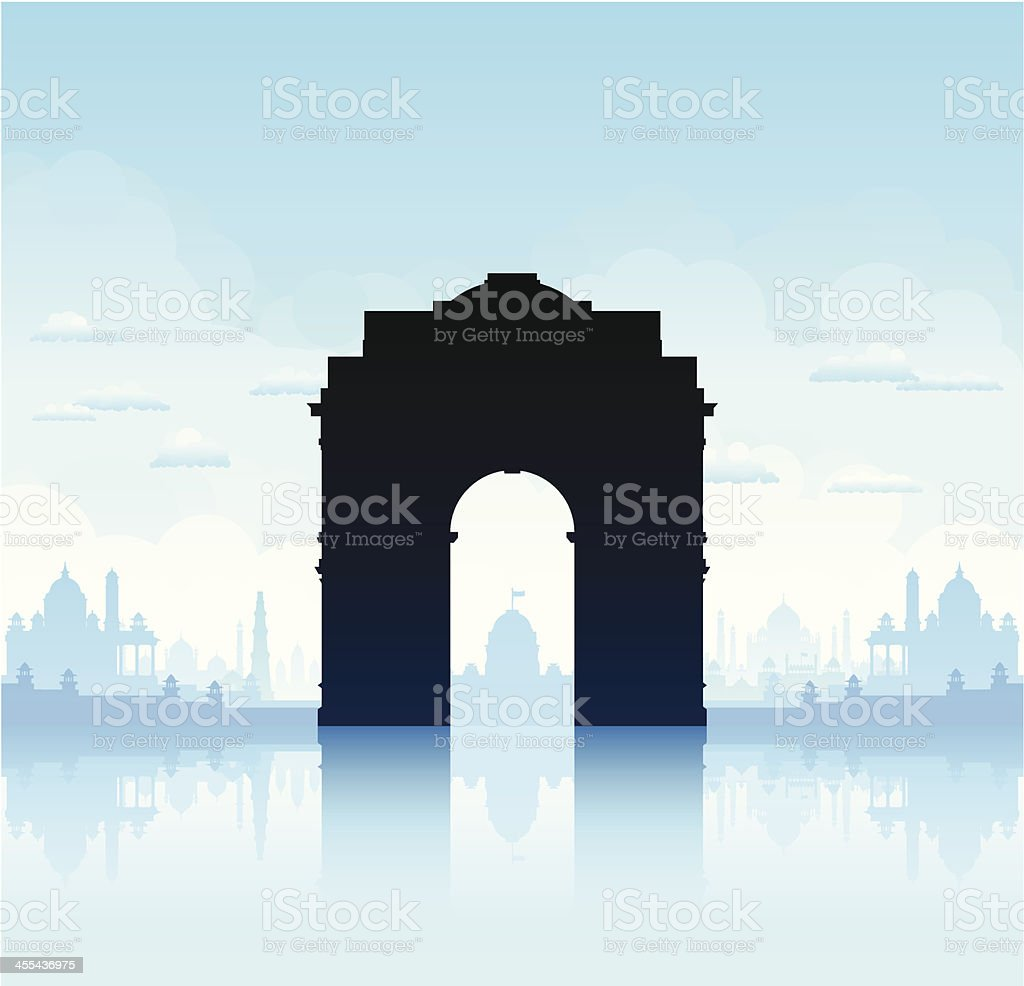 India Gate, New Delhi royalty-free india gate new delhi stock vector art & more images of back lit