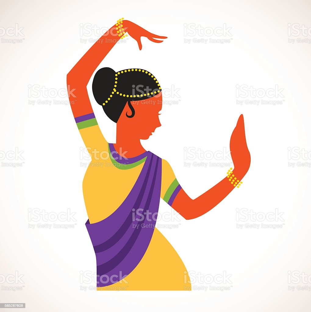 India girl wearing traditional clothing dancing Indian dance vector art illustration
