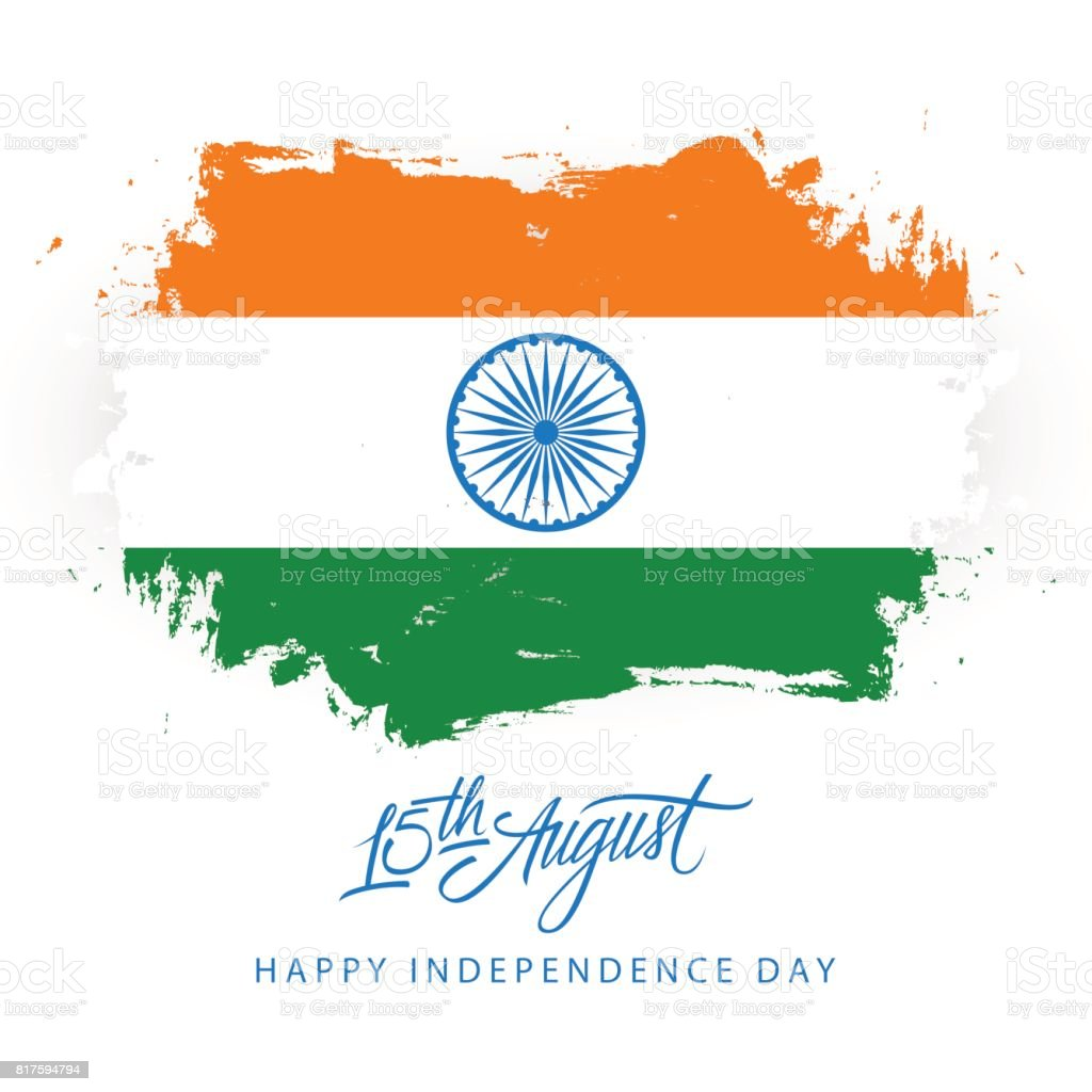 India Happy Independence Day 15 August Greeting Card With Brush