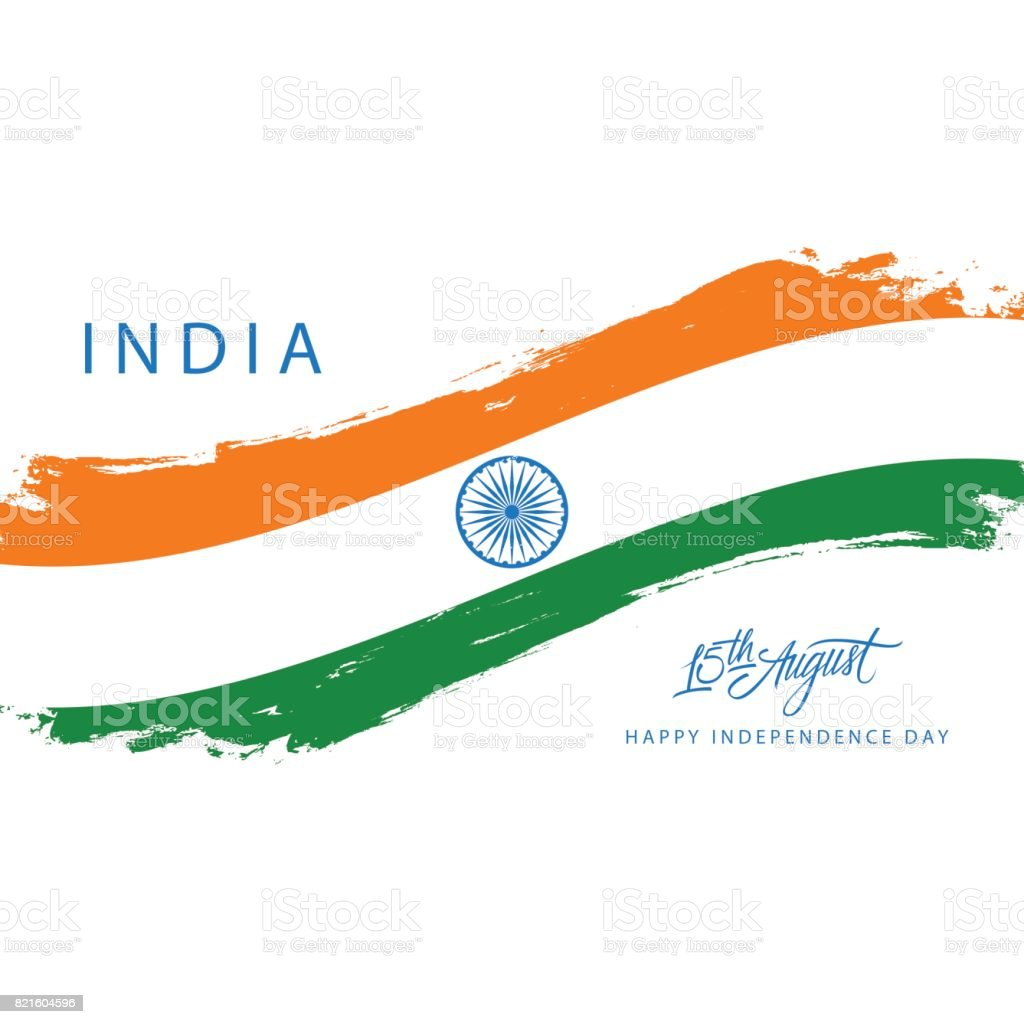India Happy Independence Day greeting card with brush stroke in indian national flag colors. vector art illustration