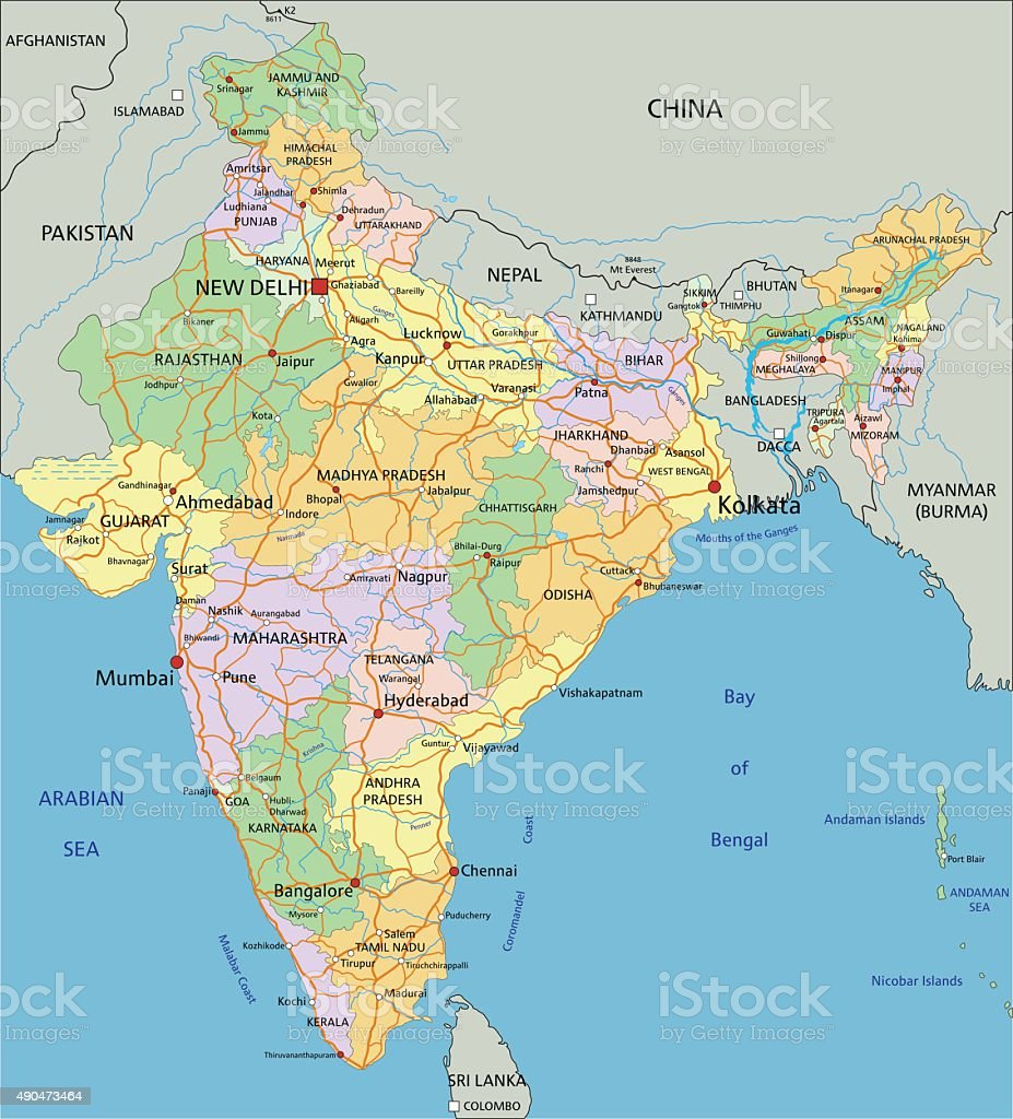 India Highly Detailed Editable Political Map Stock ...