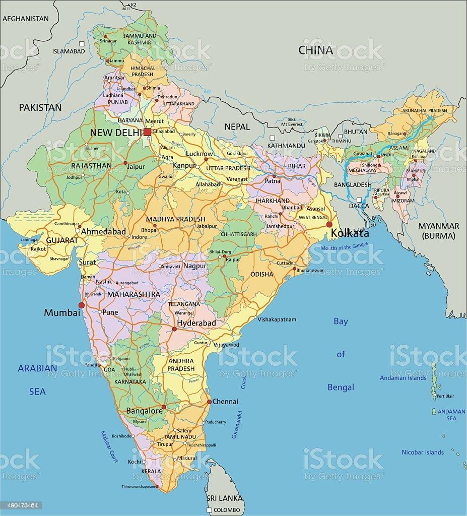 India Cartina Geografica.Indiaaltamente Dettagliata Modificabile Mappa Politica Immagini