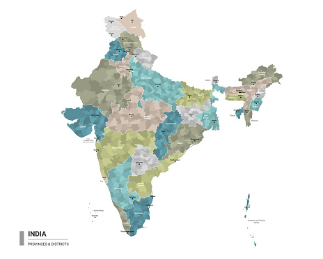 India higt detailed map with subdivisions. Administrative map of India with districts and cities name, colored by states and administrative districts. Vector illustration.