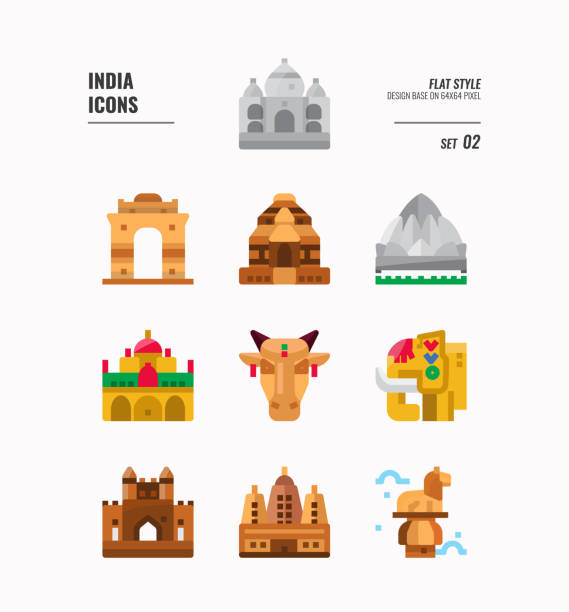 indien-symbol-set 2. schließen sie indien wahrzeichen, gebäude, tier und vieles mehr. flache symbole design. vektor-illustration - mysore stock-grafiken, -clipart, -cartoons und -symbole