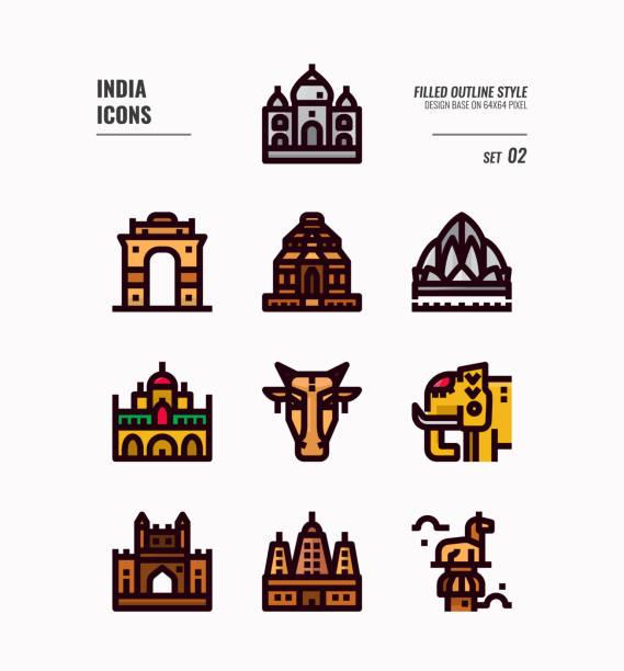 indien-symbol-set 2. schließen sie indien wahrzeichen, gebäude, tier und vieles mehr. gefüllte umrisssymbole design. vektor-illustration - mysore stock-grafiken, -clipart, -cartoons und -symbole