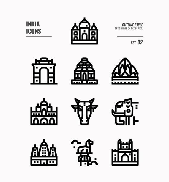 indien-symbol-set. schließen sie indien wahrzeichen, gebäude, tier und vieles mehr. gliederungssymbole design. vektor-illustration - mysore stock-grafiken, -clipart, -cartoons und -symbole