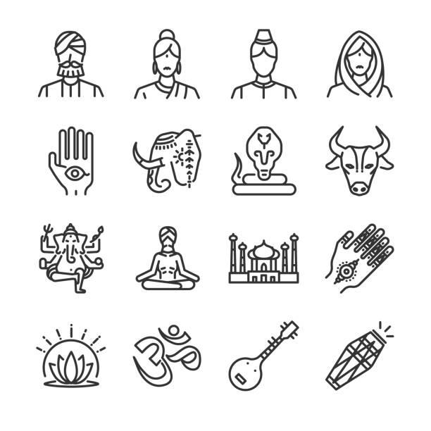 indien-icon-set. die symbole als indian, hindi, ganesha, henna, cobra, kuh und mehr enthalten. - ganesh stock-grafiken, -clipart, -cartoons und -symbole