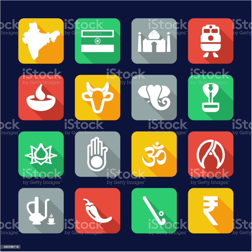 India Icons Flat Design vector art illustration