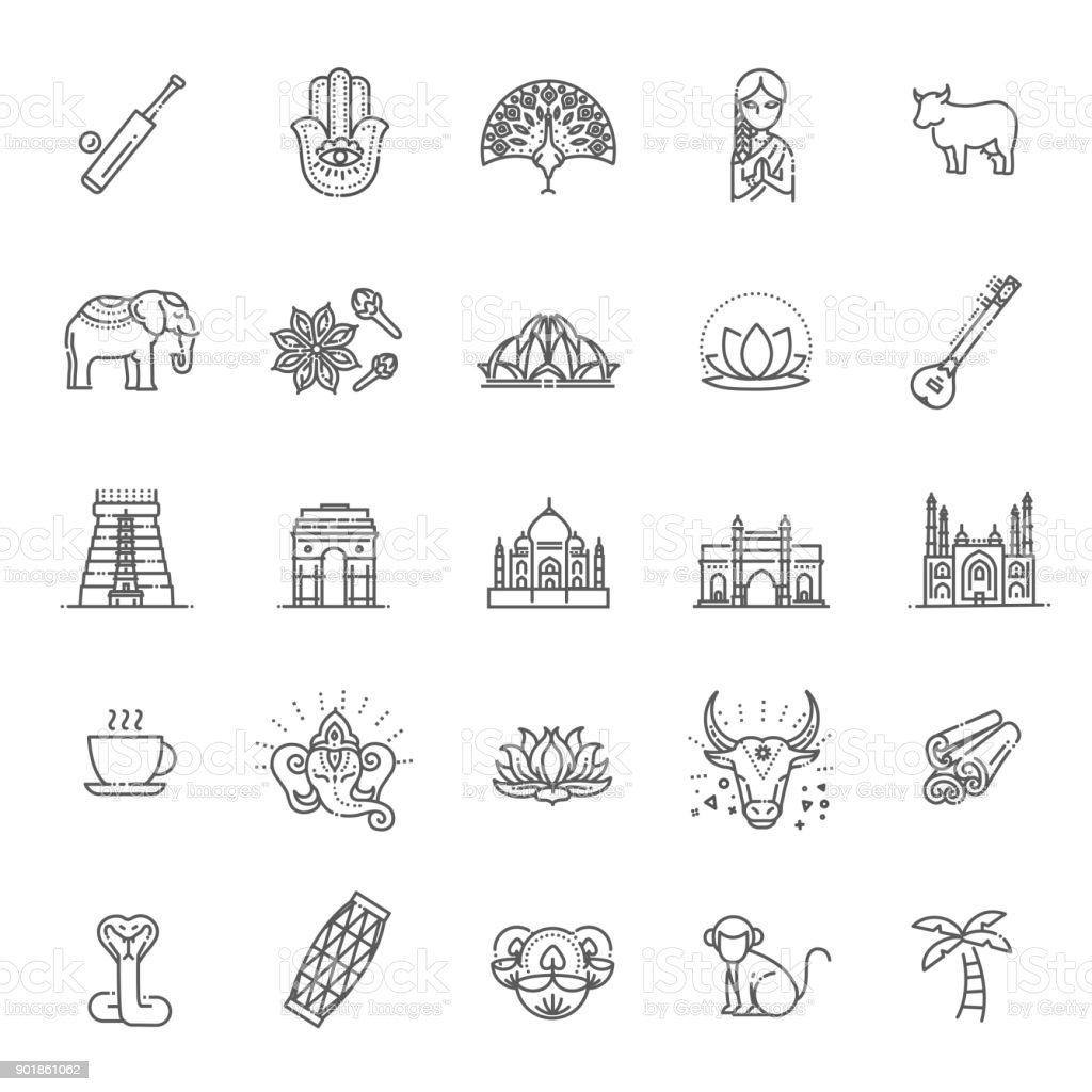 India icons set. Indian attractions, line design. Tourism in India, isolated vector illustration. Traditional symbols. vector art illustration