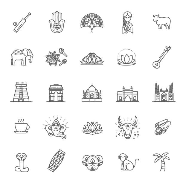 ilustrações de stock, clip art, desenhos animados e ícones de india icons set. indian attractions, line design. tourism in india, isolated vector illustration. traditional symbols. - milagre evento religioso