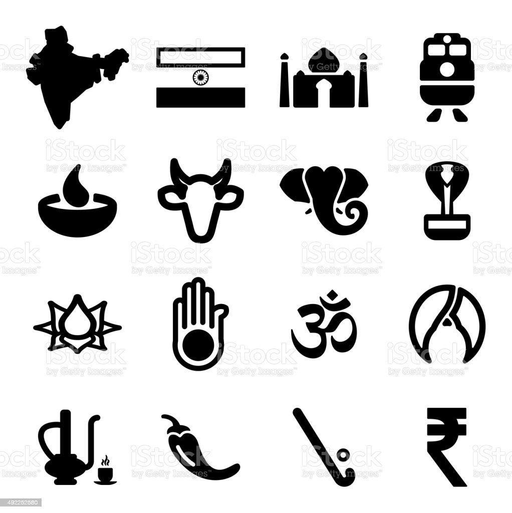 India Icons vector art illustration
