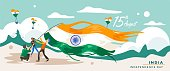India independence day. 15 august. Greeting card, banner and poster template. People illustration is being campaign with holding indian flag .