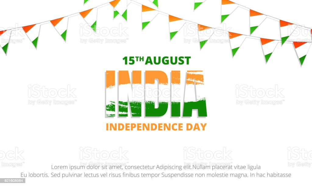 India Independence Day banner. Banner with buntings of India flag and typographic logo for India national holiday. 15th of August Independence Day vector art illustration