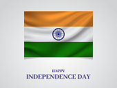 India Independence Day poster with flag. Vector illustration. EPS10