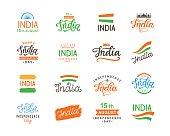 India independence day. Handmade lettering  templates big set. Hand written calligraphy. 15th August badge, emblem, sticker label. Isolated vector design elements for greeting cards, banners.
