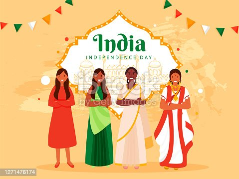 istock India Independence Day Poster Design with Different Religion Female Group and Line Art Famous Moniuments on Pastel Orange Background. 1271476174