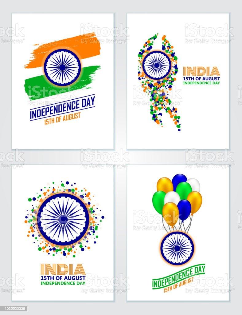 Indienindependence Dayset Gruß Karten In Traditionellen Farben ...
