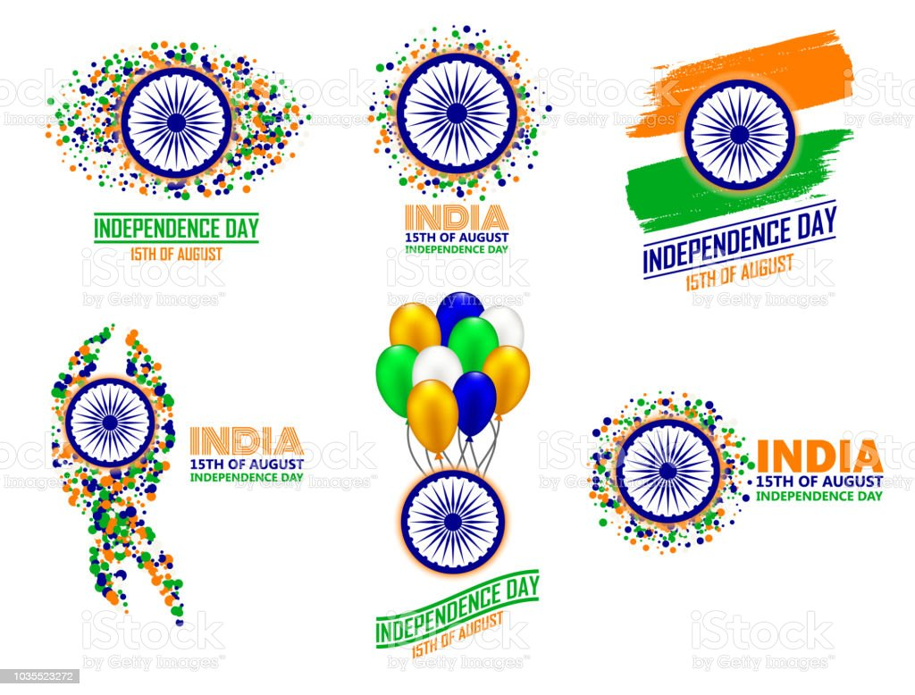 India Independence Day Set Of Six Greeting Card Elements In