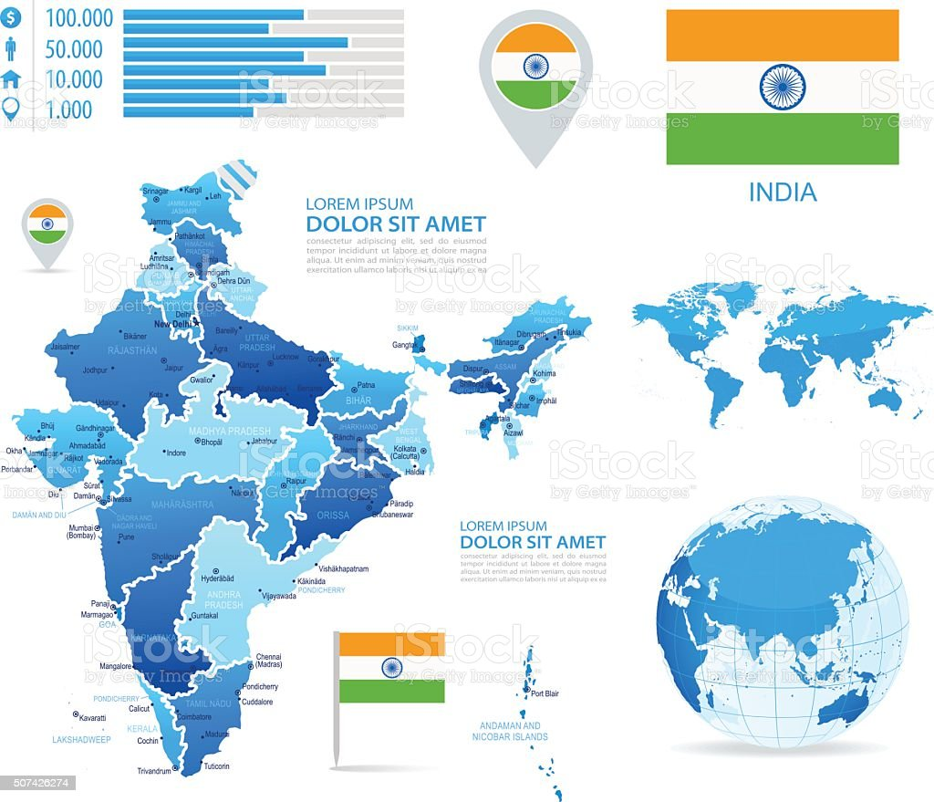 India Infographic Map Illustration Stock Vector Art More Images Of