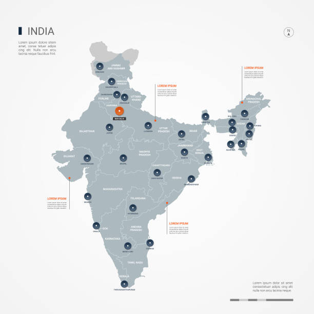 India infographic map vector illustration. India map with borders, cities, capital and administrative divisions. Infographic vector map. Editable layers clearly labeled. india stock illustrations
