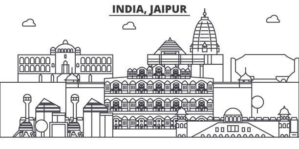 indien, jaipur architektur linie skyline abbildung. linearer vektor stadtbild mit berühmten sehenswürdigkeiten, sehenswürdigkeiten der stadt, design-ikonen. landschaft mit editierbaren striche - mysore stock-grafiken, -clipart, -cartoons und -symbole