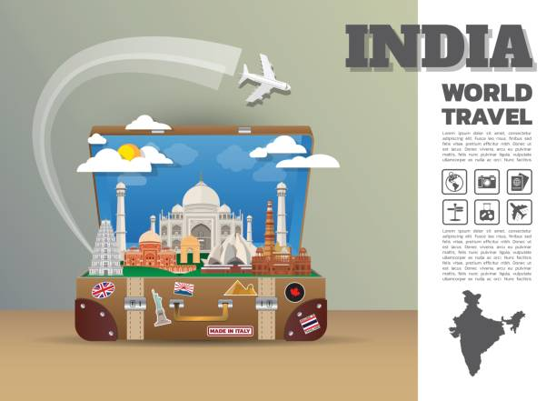 インド ランドマーク世界旅行と旅インフォ グラフィック luggage.3d デザイン ベクトル template.vector/illustration。ビジネス、広告、またはアートワークを使用できます。 - アジア旅行点のイラスト素材/クリップアート素材/マンガ素材/アイコン素材