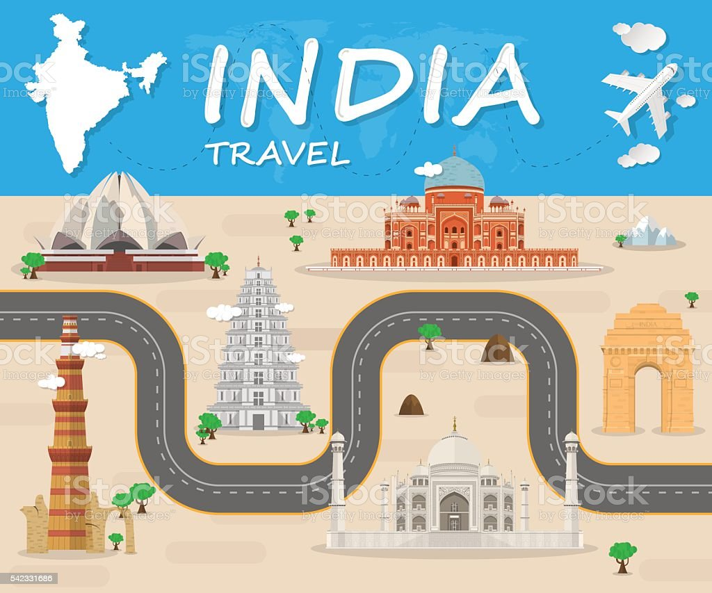 India Landmark Global Travel And Journey Infographic Vector Desi vector art illustration
