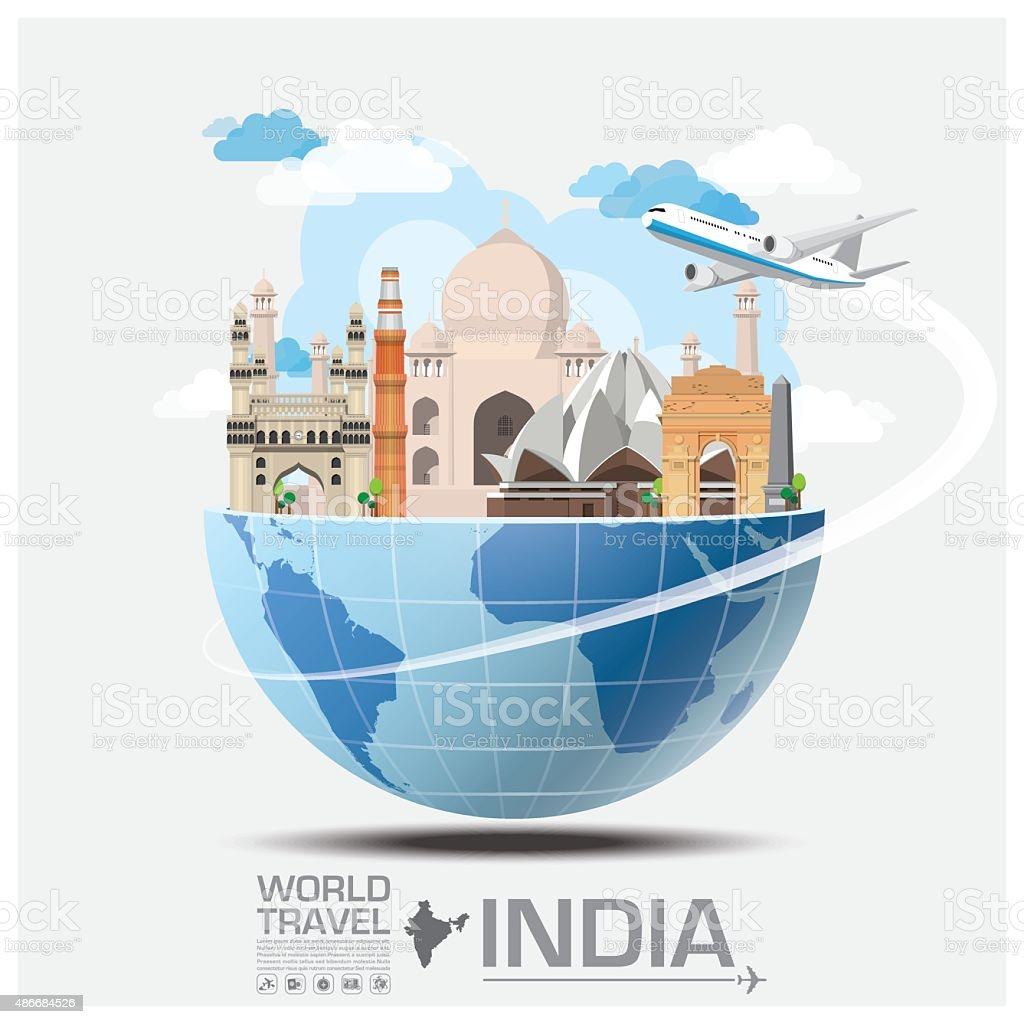 India Landmark Global Travel And Journey Infographic vector art illustration