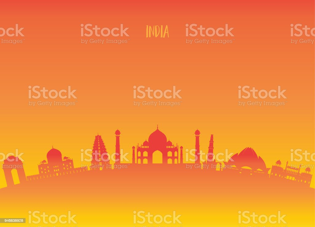 India Landmark Global Travel And Journey paper background. Vector Design Template.used for your advertisement, book, banner, template, travel business or presentation. vector art illustration