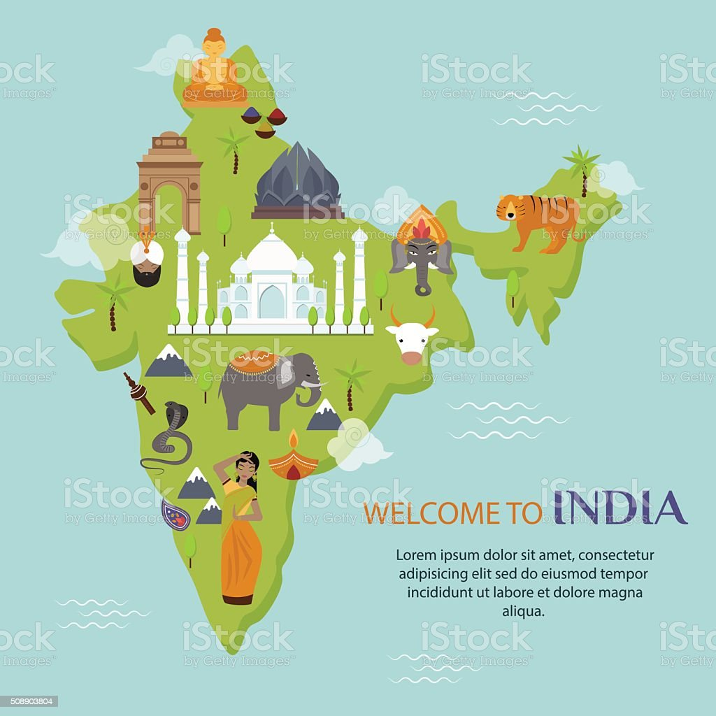 India landmark travel map vector illustration vector art illustration