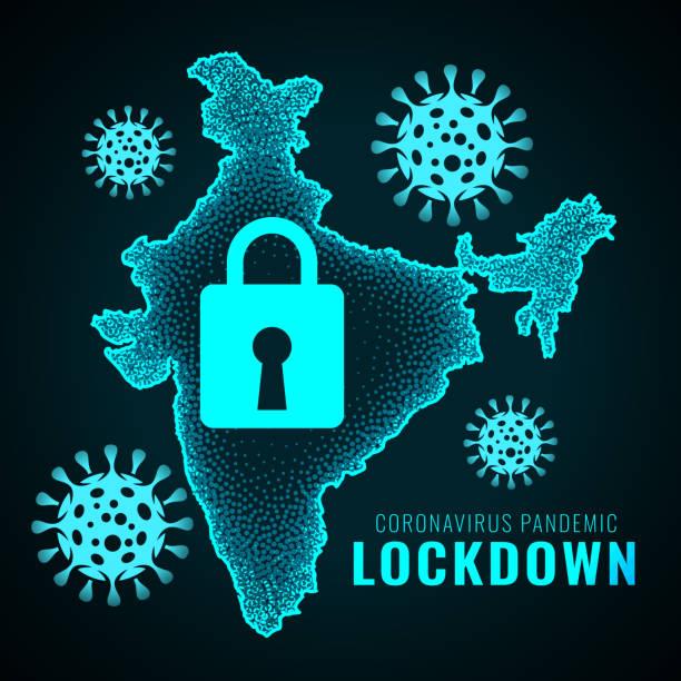 illustrazioni stock, clip art, cartoni animati e icone di tendenza di india lockdown due to coronavirus pandemic infection outburst - lockdown