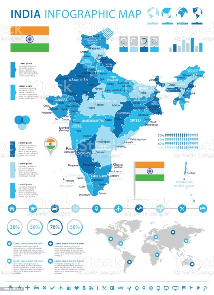 13 - India Map - 4B Infographic 10 vector art illustration
