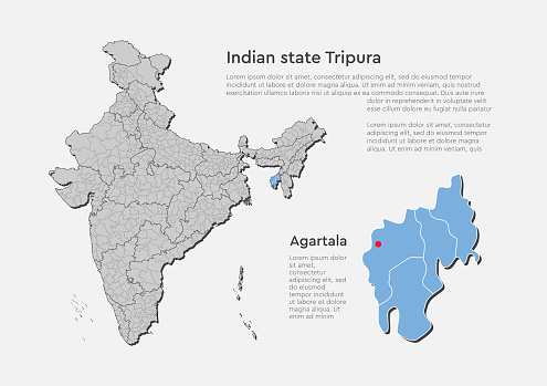 India map and country state Bihar, vector template